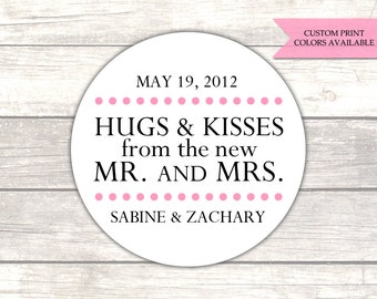 Hugs and kisses from mr and mrs stickers - Wedding favor stickers - Wedding stickers - Wedding labels (RW007)