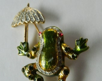 Frog with umbrella -Pin