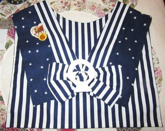 Sailor collar  Basket designs charms Retro blue  dress trim
