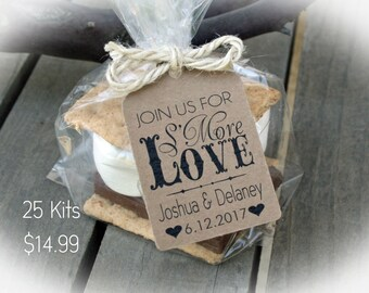 Engagement Party Favor Smores Kit-3 TAG COLORS 25-100 DIY Bags/Favor Tags w/Ribbon or twine  | Bag sz Lge