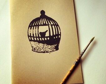 Birdcage | Sketchpad | Journal | Handstamped | Notebook