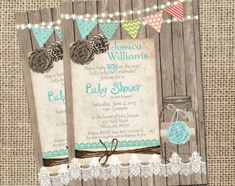 Rustic, Mason Jar,  Burlap and Lace Baby Shower Invitation, Invite, Wood, Lights, Boy or Girl, Shabby, Printable, Customize, 5x7
