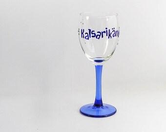 Geek Wine glass for drinking alone - Kalsarikannit \ Underweardrunk wine glass, Blue weird wine glass