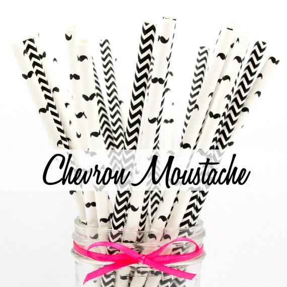 MOUSTACHE BLACK CHEVRON Paper Straws - Party Paper Straws - Wedding - Birthday Decorations