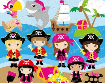 Pirate Girl Clipart/ Cute girl pirate Clip art (CG191)