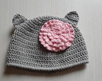 Gray cat hat with flower Crochet hat Little gray cat hat