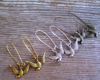 Silver Swallow Earrings, Antiqued Silver Bird Earrings, Silver Swallows, Bird Jewelry, Pierced Dangle Earrings