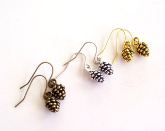 Pine Cone Earrings, Fall Jewelry, Pinecone Earrings, Fall Earrings, Pine Cone Jewelry, Brass Pinecone, Silver Pinecone, Gold Pinecone Choice
