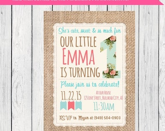 Burlap Shabby Chic Birthday Invitation***Digital File*** (ONE-Shabby)