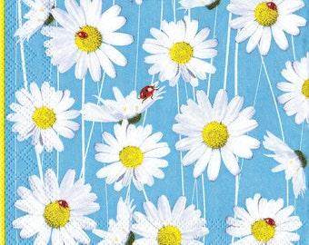"6 Decoupage Flowers/Floral Napkins Camomile  25х25 cm. 10""x10"" set of 6 pcs"