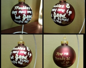 DMB lyric glass Christmas ornament - Steady as we go - Dave Matthews Band