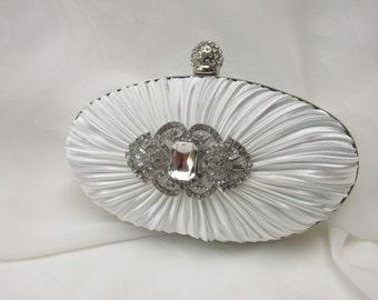 Ivory  Clutch Bag, Evening Clutch, Bridal Clutch Bag,wedding crystal clutch vintage crystal clutch evening clutch ivory  clutch