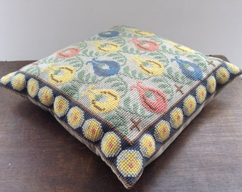 Vintage Swedish Cross stitch pillow Embroidered throw pillow Decorative vintage pillow