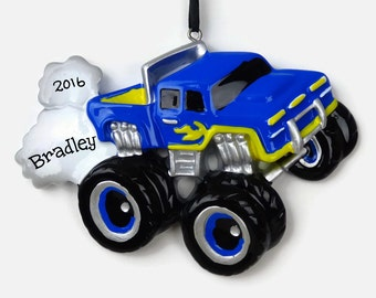 30% OFF SALE - Blue Monster Truck Personalized Ornament - Hand Personalized Christmas Ornament