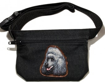 Embroidered dog treat waist bag. Breed - Poodle (black/grey). For dog shows and training. Great gift for breed lovers.