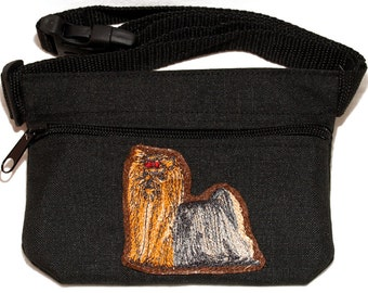 Embroidered dog treat waist bag. Breed - Yorkshire terrier, yorkie (body). For dog shows and training. Great gift for breed lovers.