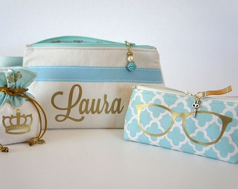 Personalized Cosmetic Bags SET, includes: Toiletries/Makeup Bag, Sunglasses Case/Medium Bag and Small Jewelry Pouch, Personalized Gift Set
