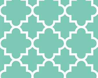 Mint Quatrefoil in Knit, Desert Sky BOLT Collection, Made in USA, Cotton Jersey Knit Fabric Sold by the Yard 5614