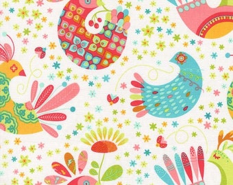 Feathered Flock in Coral, Birds & The Bees by Tamara Kate for Michael Miller Fabrics