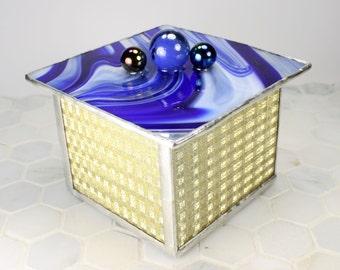 Blue Glass Jewelry Box, Earring Organizer, Jewelry Storage, Jewelry Holder, Jewelry Container, Jewelry Organization, Modern Jewelry Box