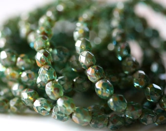 6mm Faceted Round Czech Glass Beads, Aqua Emerald Look with Picasso Finish Fire Polished Faceted Beads CZFB009
