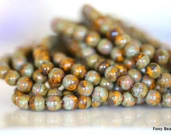 Brown with Picasso Finish Czech Glass 6mm Round Druk Bead - CZDRU008