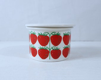 Arabia Finland Jam Jar with Strawberry Graphic and Lid - Arabia Pomona Series by Ulla Procope