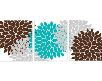 Teal And Brown Wall Decor home decor wall art coral and brown flower burst art