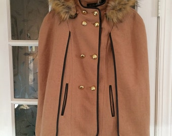 Women's/Girl's Cape Coat/Jacket by Pink Lady, Removable Hood with Faux Fur, Faux Leather Trim