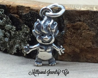 Troll Charm, Garden Charm, Sterling Silver Charm, PS3119