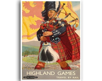 Scotland Art Print Travel Poster Retro Scottish Home Decor (XR786)