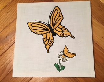 Embroidered Butterfly Wall Hanging