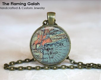 NEW YORK Map Pendant • Vintage New York • NYC Map • Old New York Map • Map of New York • Gift Under 20 • Made in Australia (P0444)