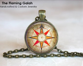 COMPASS ROSE Pendant • Vintage Compass • Gift for a Traveler • Compass Jewellery • Compass Art • Gift Under 20 • Made in Australia  (P0758)