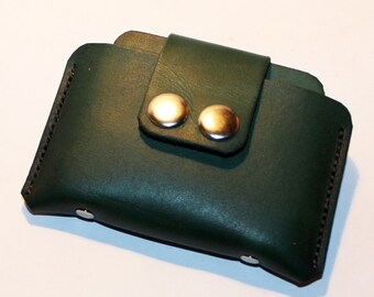 Leather Credit Card Wallet,Green Leather Purse, Leather Card Case, Tiny Wallet, Small Wallet, Great Gift! SALE