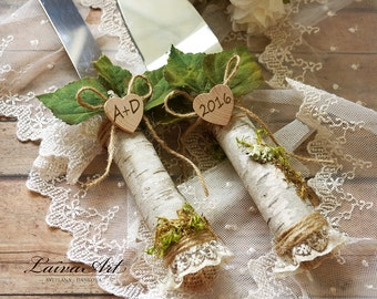 Rustic Wedding Cake Server Set  Outdoor wedding Cottage wedding Barnyard wedding Birch wedding