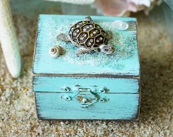 Beach Wedding Ring Bearer Pillow Box Rustic Ring Bearer Ring Box Personalized Box Beach Ring Box White Ring Box Beach Ring Bearer