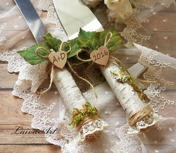 Outdoor Wedding Illinois: Rustic Wedding Cake Server Set Outdoor Wedding By LaivaArt