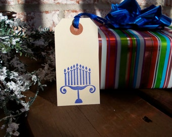 Hanukkah Gift Tags - Menorah - Set of (10) 3 3/4 x 1 7/8 Hand Stamped Manila Shipping Tags perfect for Chanukah or Hostess Gifts
