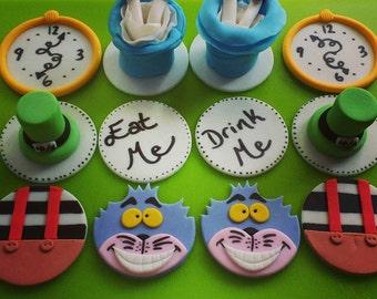 Alice in Wonderland Cupcake Toppers (one dozen)
