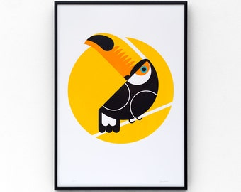 Toucan A3 limited edition screen print, hand-printed in 4 colours