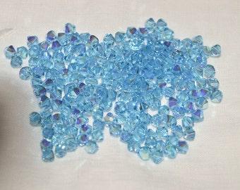 100 ~ 5328 4mm Bicones  Aqua AB AB2X (AB2) Aquamarine ~ Swarovski ELEMENTS Bicone Crystal #5328 4mm