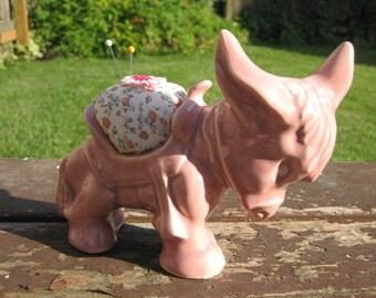 Vintage Pink Donkey Planter Upcycled as Pincushion