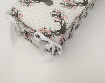 Crib Bumper - Going Stag, Floral Deer