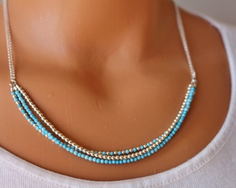 Turquoise and silver necklace, beaded turquoise necklace, boho chic gemstone necklace, womens beaded necklace, gift for her