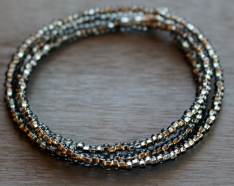 Grey wrap bracelet, beaded wrap bracelet, simple wrap bracelet,  seed bead bracelet, womens beaded bracelet, gift for her