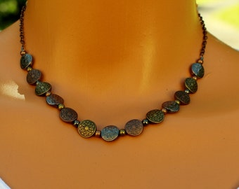 Mixed metals necklace, copper necklace, celtic beaded necklace, women's necklace, boho chic beaded necklace, layering necklace,