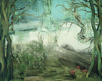 3x3 Enchanted Rainforest Fairytale Scenic Photography Backdrop - Fab Vinyl 3x3 ft (FV5085)