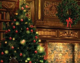 5x5 Christmas & Holiday Drop / Party Backdrop / Christmas Photobooth Backdrop - Fab Vinyl 5x5 ft (FV9011)