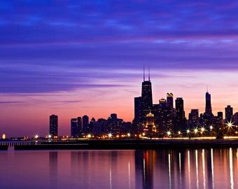 Chicago purple sunset and waterfront photography - fine art photography - sunset cityscape. Chicago and lake Michigan evening scenery